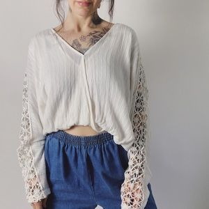 FREE PEOPLE Runaway Crochet Cropped Blouse…